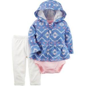 Carter's blue aztec 3-piece hoodie set